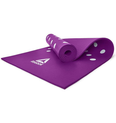 REEBOK RAMT-12235 TRAINING MAT Designed for all ground training, the 7 mm mat's ridged base increases stability for stronger workouts. Made from PVC-free NBR foam, the padded surface lays a comfortable workout foundation whilst remaining lightweight and quick to roll.Easy to clean with a subtle design, the 7 mm mat is fit for all training styles. Buy online India. Cod available a