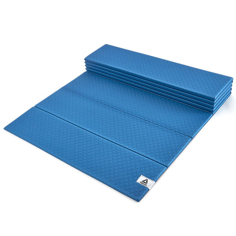 Reebok Folded Yoga Mat, 6mm ( Blue, RAYG-11050BL )  https://thesweatshop.club/products/reebok-folded-yoga-mat-6mm-blue-rayg-11050bl  Compact design for transport and storage Dense padding offers added stability Diamond grip surface for added traction Dimensions – 180 (L) x 60 (W) In-Box Contents: 1 Yoga Mat Unique foldable design - quick to fold and unfold Soft, comfortable and supportive a
