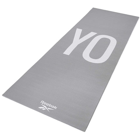 Reebok Double Sided Yoga Mat, 4mm ( RAYG-11030YG ,Grey )  https://thesweatshop.club/products/reebok-double-sided-yoga-mat-6mm-rayg-11060plgr-grey  Designed for all ground exercises, the Reebok 6mm yoga mat strikes a balance between comfortable cushioning and solid ground contact. The 4mm yoga mat is ideal for all training types and styles. Dimensions – 173 (L) x 61 (W).buy online India.Cod available.a