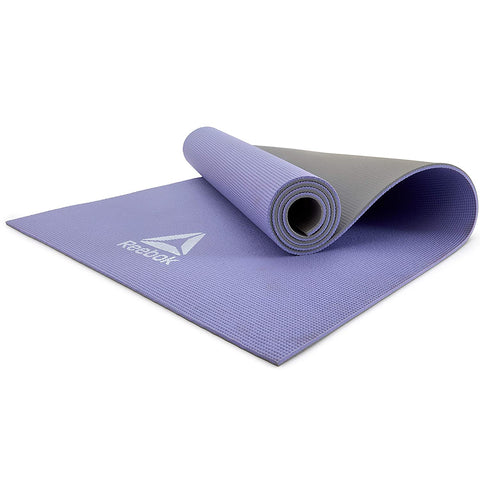 Reebok Double Sided Yoga Mat, 6mm ( RAYG-11060PLGR ,Purple/Grey )  https://thesweatshop.club/products/reebok-double-sided-yoga-mat-6mm-rayg-11060plgr-purple-grey  Designed for all ground exercises, the Reebok 6mm yoga mat strikes a balance between comfortable cushioning and solid ground contact. The 6mm yoga mat is ideal for all training types and styles. Dimensions – 173 (L) x 61 (W).buy online India.Cod available a