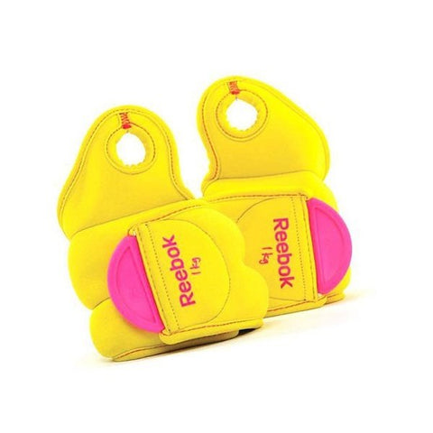 Reebok Wrist Weights 1Kg x 2 (RAWT-11071YL)  https://thesweatshop.club/products/copy-of-reebok-wrist-weights-1kg-x-2  Designed to strengthen and tone, the weights Velcro fastening, and thumb loop tab minimize movement for the more focussed exercise. Wrist weights with thumb lock made of soft neoprene and nylon.size adjustment with Velcro color: yellow dimensions: 33 x 14.3 x 2 cm load weight: 2 x 1.0 kg .Buy online India.COD AVAILABLE… A
