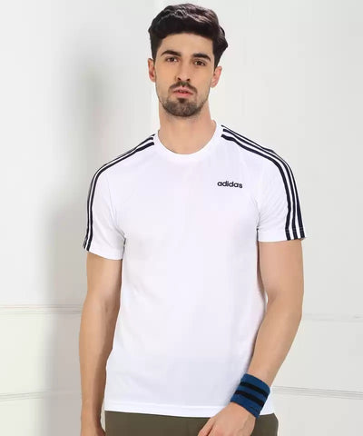 ADIDAS MEN'S CLASSIC 3 STRIPES SPORT TEE - White/Black  https://thesweatshop.club/products/copy-of-adidas-mens-athletics-3-badge-of-sport-camouflage-tee  ADIDAS MEN'S CLASSIC 3 STRIPES WHITE/BLACK TEE Style that goes from practice to the street. Contrast 3-Stripes on the sleeves of this men's t-shirt give it a sporty authentic touch. The tee is made of polyester single jersey fabric for a soft feel.BUY ONLINE INDIA.COD AVAILABLE.A