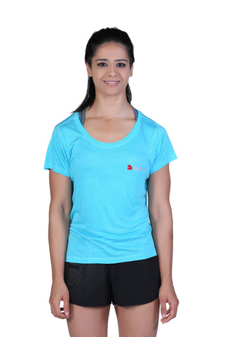Brav Activewear Bamboo Women's T Shirt Plain - Sunny Blue