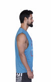 Brav Wake Up Kick Ass Repeat Men's Muscle Tee - Blue