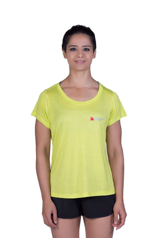 Brav Activewear Bamboo Women's T Shirt Plain - Neon Green