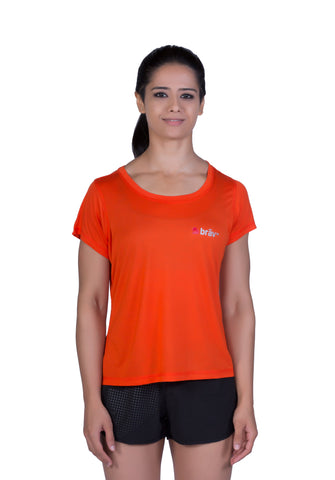 Brav Activewear Bamboo Women's T Shirt Plain - Tangy Red
