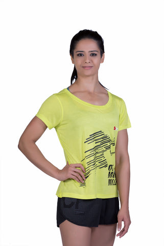 Brav Bamboo T Shirt - Activewear (Women's) Yellow Graphic T