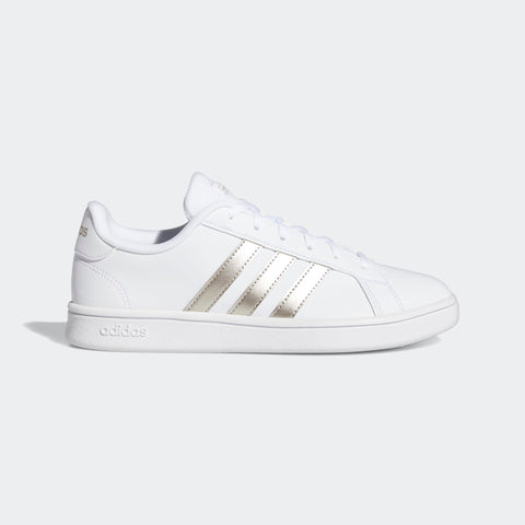ADIDAS WOMEN's SPORT INSPIRED GRAND COURT BASE SHOES (EE7874, CLOUD WHITE / PLATINUM METALLIC / CLOUD WHITE )