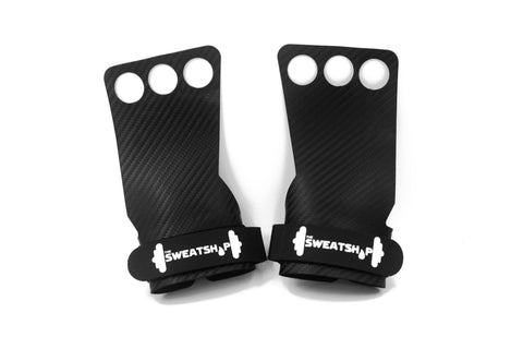 The SweatShop 3 finger Gymnastics Hand Grips are Ideal for Cross Training,Pull ups, Deadlifts, Power lifting, gymnastics....and more. Made from 2mm thick high quality carbon fiber leather.Buy online India a