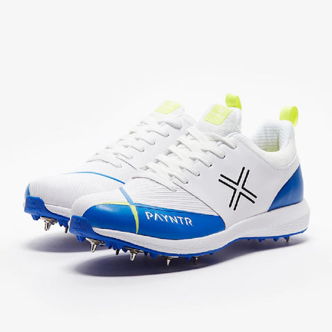 PAYNTR Cricket Spike Shoes - ( V Spike - White & Blue )  https://thesweatshop.club/products/payntr-cricket-spike-shoes-v-spike-white-blue  Innovate your game with our new to market PAYNTR V in White & Blue. Offering a high-performance shoe, at an affordable price. Provides responsive padding around the ankle and neckline to ensure comfort, protection and support. *Not recommended for fast bowling. Buy online India. Cod Available. a