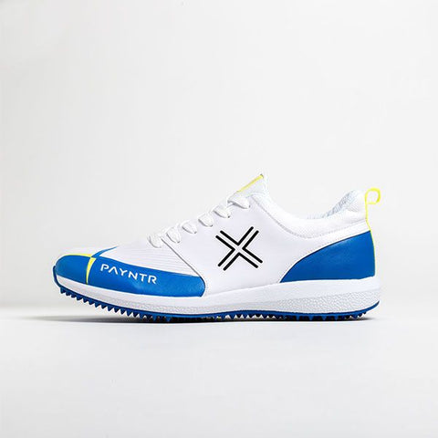 PAYNTR Cricket Shoes ( Studs - V Pimple - White & Blue )  https://thesweatshop.club/products/payntr-cricket-shoes-studs-v-pimple-white-blue  Innovate your game with our new to market PAYNTR V in Blue & Yellow. Offering a high-performance shoe, at an affordable price. Buy online India. COD available a