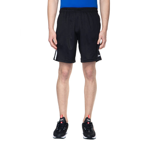 REEBOK MEN'S TRAINING FOUNDATION POLY KNIT SHORTS - BLACK  https://thesweatshop.club/products/reebok-mens-lifestyle-essentials-plain-chelsea-shorts-legend-ink  Take on the treadmill, road or trail. Made with sweat-wicking fabric, these men's training shorts offer cool, dry comfort. The Elasticated waistband with Drawcords ensure a secure fit and it comes with two side pockets.bUY ONLINE INDIA.COD AVAILABLE. A
