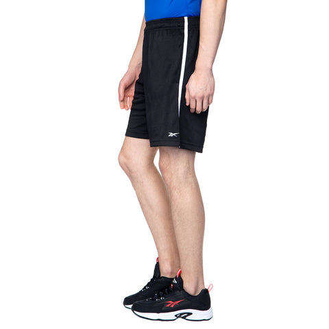 REEBOK MEN'S TRAINING FOUNDATION POLY KNIT SHORTS - BLACK  https://thesweatshop.club/products/reebok-mens-lifestyle-essentials-plain-chelsea-shorts-legend-ink  Take on the treadmill, road or trail. Made with sweat-wicking fabric, these men's training shorts offer cool, dry comfort. The Elasticated waistband with Drawcords ensure a secure fit and it comes with two side pockets.bUY ONLINE INDIA.COD AVAILABLE. B