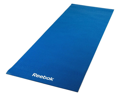 Reebok Yoga Mat - 4mm Blue https://thesweatshop.club/products/reebok-yoga-mat-4mm-blue The Reebok 4mm Yoga Mat is a must-have accessory for your Yoga workout. Whatever your level, this 173 x 61cm Yoga mat with its 4mm thick cushion and non-slip texture provides you with that vital protection to assist you in your Yoga workout. Easy to clean, roll and store.