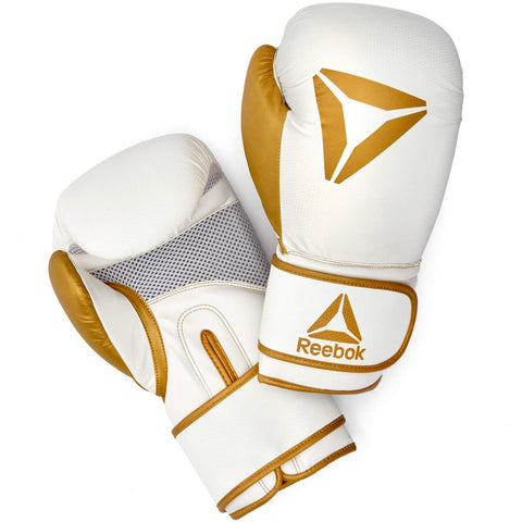 Reebok Boxing Gloves - White / Gold 10oz, 12oz, 14oz, 16oz.5mm gel shock absorption for protection and comfort at the point of contact. Buy online India.COD available a