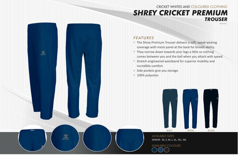 SHREY CRICKET PREMIUM COLOURED TROUSER  https://thesweatshop.club/products/shrey-cricket-premium-coloured-trouser  The Shrey Premium Trousers delivers a soft, sweat wicking coverage with mesh panel at the back for breath-ability. Side pockets give you storage. 100% polyester.buy online india.cod available.a