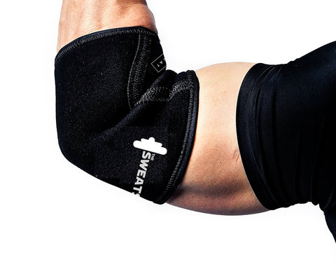 The SweatShop Neoprene Compression Elbow Sleeve (1 Pair) : 5mm Neoprene Sleeve provides Support & Compression for Weightlifting, Powerlifting, Crossfit, Functional Fitness training.a