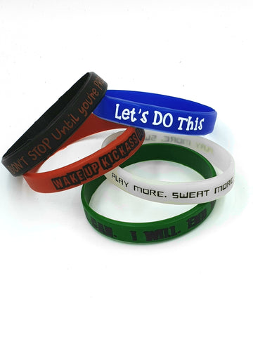 The SweatShop Motivational Silicone Rubber Wristbands (Pack of 5).-White, Black,Green ,Red  & Blue. Great gift for boyfriend, husband etc. Buy Online India. COD available