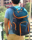 The SweatShop Backpack (Blue / Orange)- Spacious, durable and lightweight backpack. Buy online India. COD available a