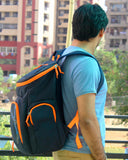 The SweatShop Backpack (Blue / Orange)- Spacious, durable and lightweight backpack. Buy online India. COD available h