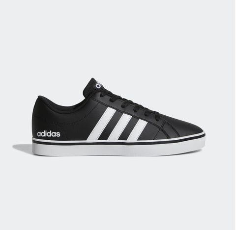 Adidas Men's Essential VS Pace Shoes -Easy low-top style Adidas Black Leather Sneakers.Buy online India a