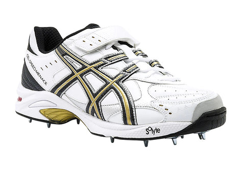 Asics Gel Speed Menace Bowlers Cricket Spikes Shoes (WHITE/BLACK/GOLD).A shoe developed to work with the foot and reduce the loads that possibly contribute to stress fractures and other foot ailments fast bowlers sometimes suffer from.Buy online India a