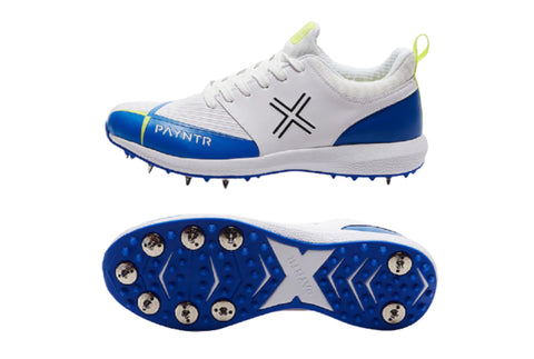 PAYNTR Cricket Spike Shoes - ( V Spike  - White & Blue )