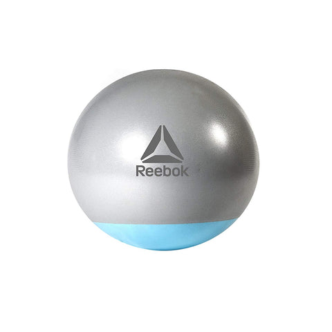 Reebok Gymball - Diameter 75cm The double-coated rubber base provides additional stability Ideal for sit-ups, core strength, stability, and general fitness. Includes workout DVD and pump Two-tone Grey/Blue. Buy Online India. COD available a