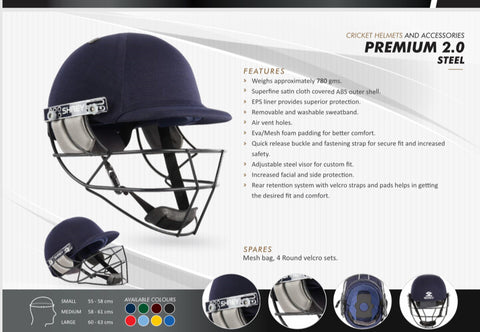 Shrey PREMIUM 2.0 STEEL (H173) - Navy Cricket Helmet.Steel Visor. Weighs approximately 780gms. Superfine satin cloth covered ABS outer shell. Buy online India A