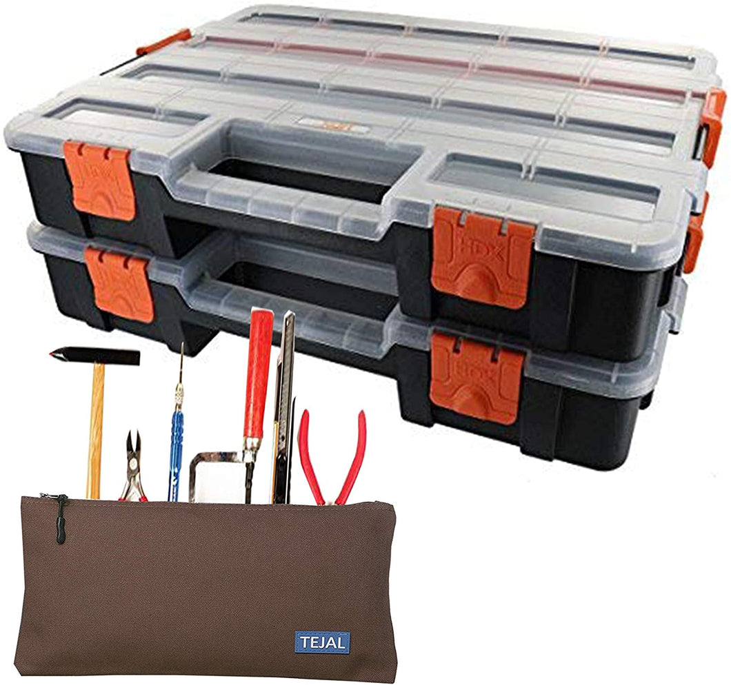 TEJAL HDX Tool Box Organizer, Interlocking Black Small Parts Organizer for Fasteners and Crafts w/Removable Dividers (2 Pack) With Single TEJAL Canvas Zipper Pouch(16Oz), Pouch Color May Vary