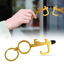 TEJAL No Touch Door Opener Tool – Multifunctional Touch Door Opener Hand Tool – Matt Gold - Serves as Bottle Opener and Stylus Pad - Key Ring Included