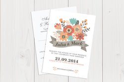 A6 Flat Wedding Invitation Ref.: A6FLT017