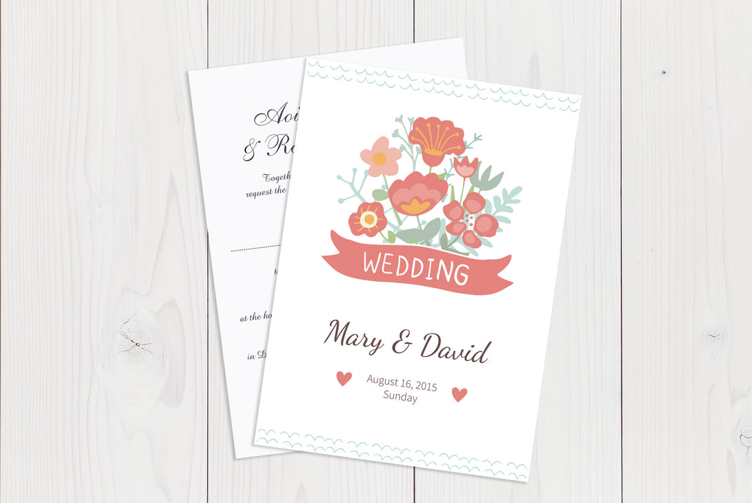 A6 Flat Wedding Invitation Ref.: A6FLT018