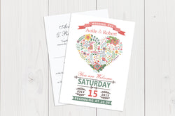 A6 Flat Wedding Invitation Ref.: A6FLT021