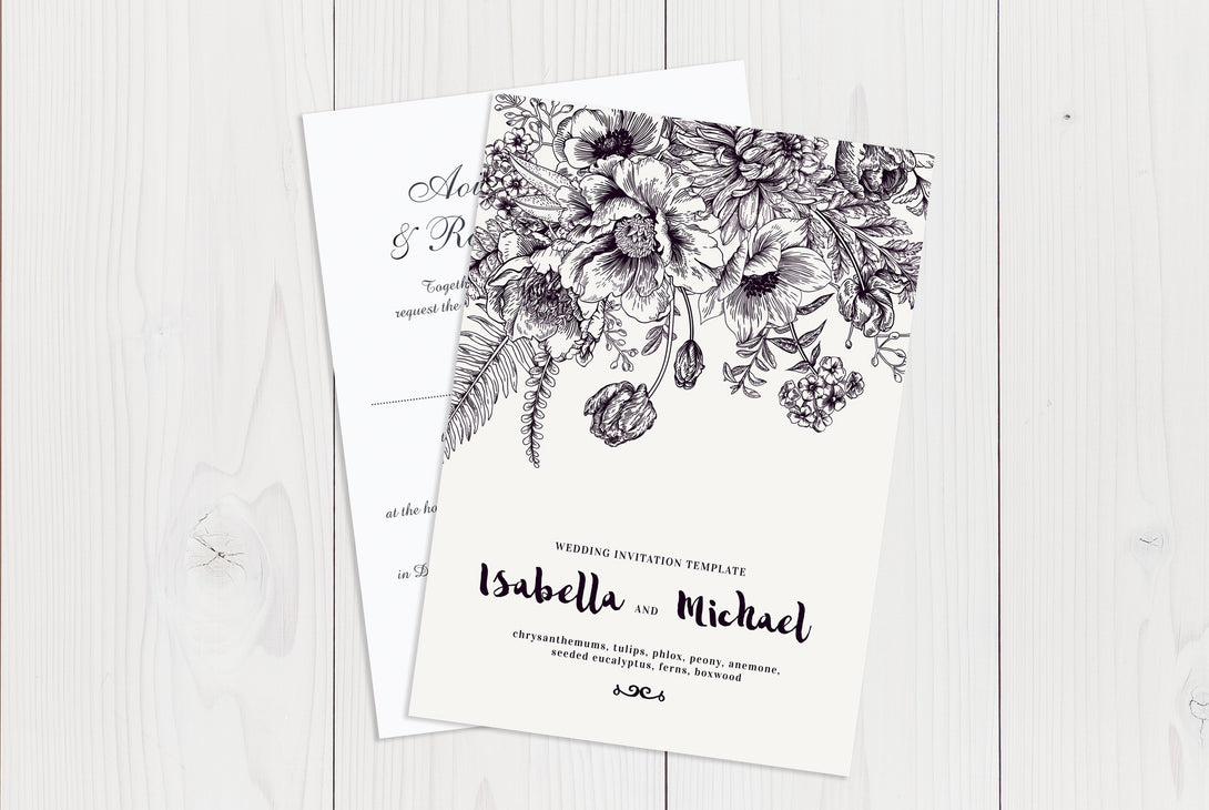 A6 Flat Wedding Invitation Ref.: A6FLT035