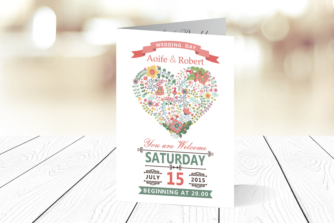 A6 Folded Wedding Invitation Ref.: A6F017