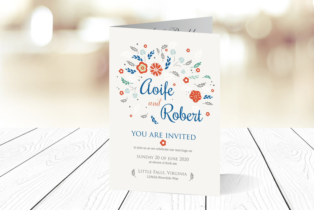 A6 Folded Wedding Invitation Ref.: A6F024
