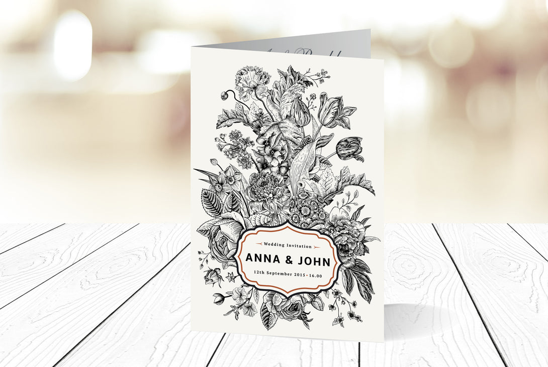 A6 Folded Wedding Invitation Ref.: A6F029
