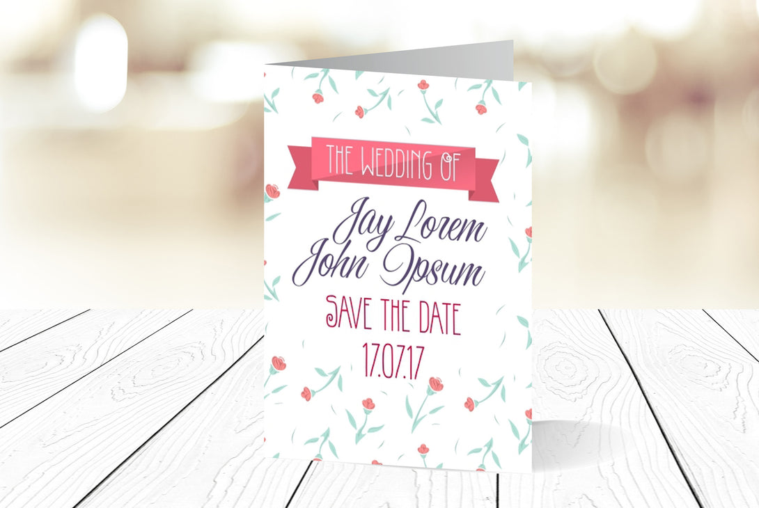 A6 Folded Save The Date Ref.: A6FSD005