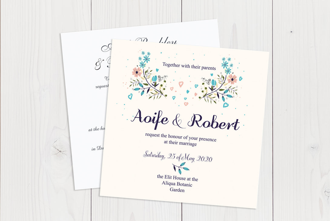 Flat Squared Wedding Invitation Ref.: SQF014