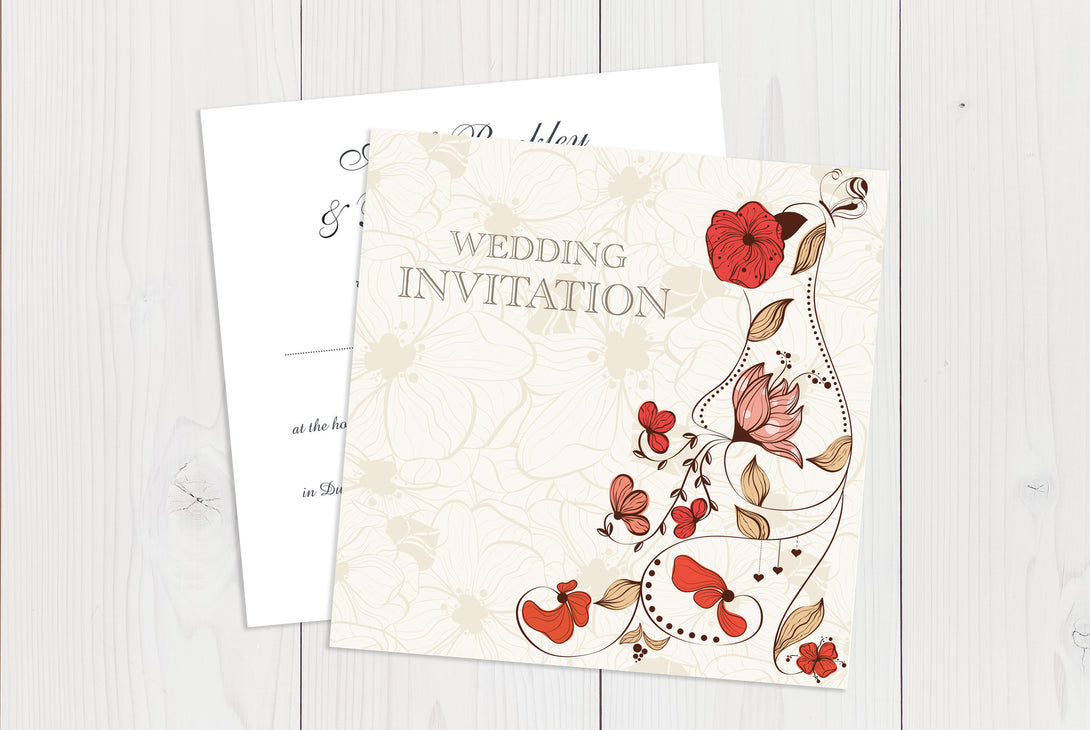 Flat Squared Wedding Invitation Ref.: SQF026