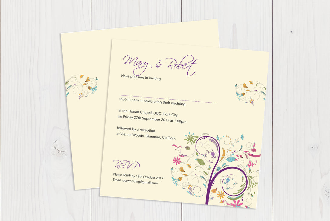 Flat Squared Wedding Invitation Ref.: SQF034