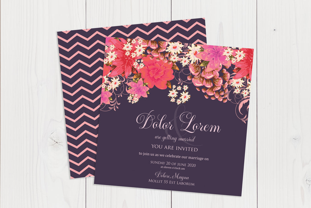Flat Squared Wedding Invitation Ref.: SQF037