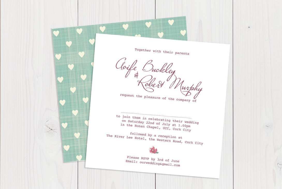Flat Squared Wedding Invitation Ref.: SQF041
