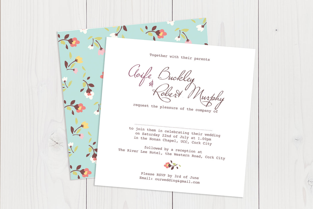 Flat Squared Wedding Invitation Ref.: SQF043
