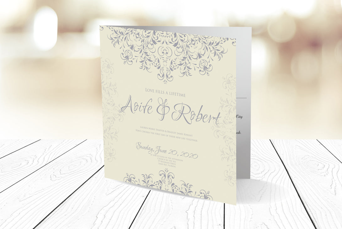 Folded Wedding Invitation Ref.: SQD114