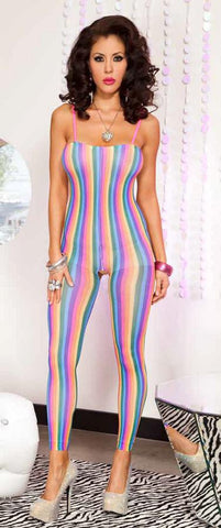 Rainbow Footless Rainbow Stripes Crotchless Bodystocking