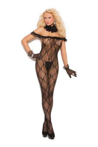 Bow Pattern Lace Open Crotch Bodystocking