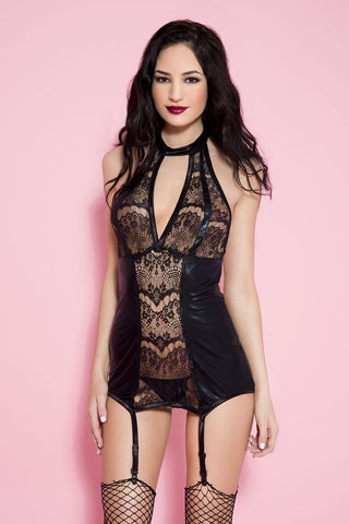 Lace and Wet Look Halter Mini
