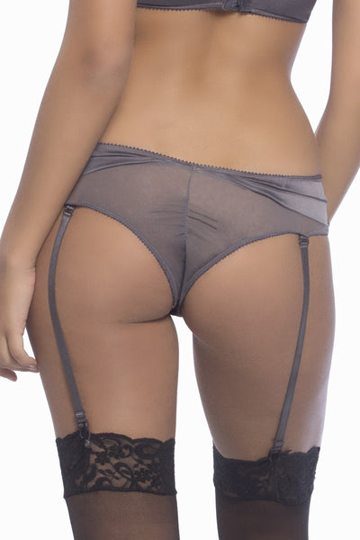 ARABELLA-  Satin & Lace Tanga Panty with Removable Garters